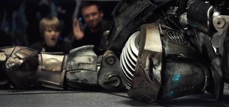 Hugh Jackman and Dakota Goyo yell at Atom to get up from the Walt Disney Studios film Real Steel