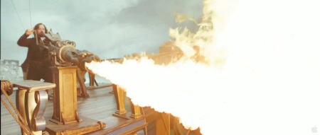 Athos uses a flame thrower from the Constantin Film Three Musketeers 2011