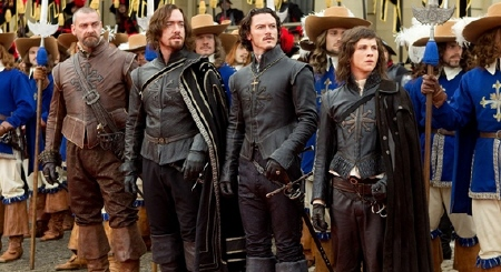 Ray Winstone, Matthew MacFadyen, Luke Evans, and Logan Lerman as the four musketeers from the Constantin Film Three Musketeers 2011