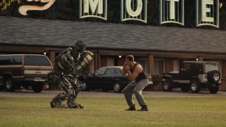 Atom shadows Hugh Jackman from the Walt Disney Studios film Real Steel