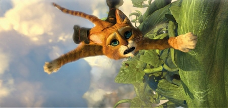 Puss climbs the beanstalk from the Dreamworks film Puss in Boots