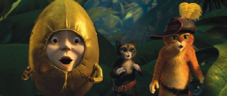 Humpty, Kitty, and Puss find the golden goose from the Dreamworks film Puss in Boots