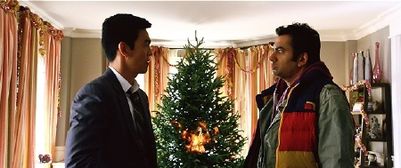 Harold and Kumar burn the Christmas tree down from the Warner Bros Pictures film a Very Harold and Kumar 3D Christmas