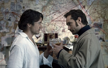 Holmes and Watson have a drink from the Warner Bros. Pictures film Sherlock Holmes a Game of Shadows