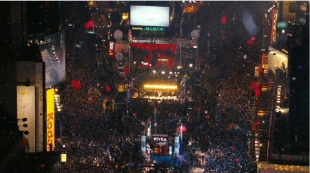 Times Square crowd from the New Line Cinema film New Years Eve