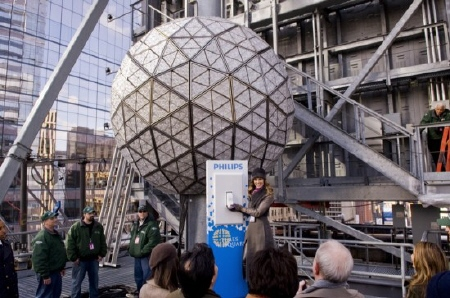Hilary Swank flips the switch on the Times Square ball from the New Line Cinema film New Years Eve