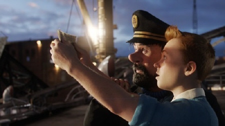 Haddock and Tintin look at the clue from the Paramount Pictures film The Adventures of Tintin