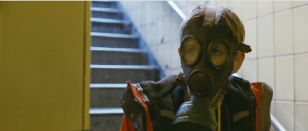 Oskar wearing his gas mask from the Warner Bros. Pictures film Extremely Loud and Incredibly Close