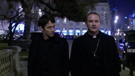 Ben and David the rogue priests from the film The Devil Inside