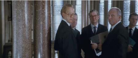 male MPs look down their noses at Thatcher from the Film 4 movie The Iron Lady