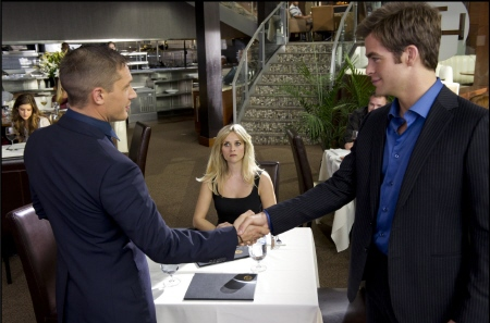 Tuck and FDR shake hands over Lauren from the 20th Century Fox Film This Means War