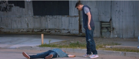 Schmidt after being hit by a car from the Columbia Pictures film 21 Jump Street