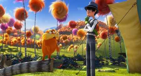 Lorax reasons with Onceler from the Universal Pictures film Dr. Seuss The Lorax