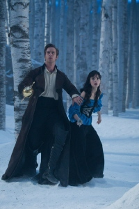 Prince Alcott and Snow White face the beast from the Relativity Media film Mirror Mirror