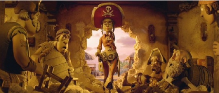Cutlass Liz makes an entrance from the Aarman/Sony film The Pirates!