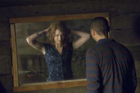 Jesse oogles Dana through the one way mirror from the Mutant Enemy film Cabin in the Woods