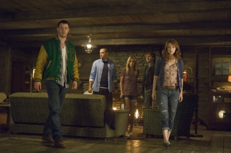 Chris Hemsworth, Jesse Williams, Anna Hutchison, Fran Kranz, and Kristen Connolly from the Mutant Enemy film Cabin in the Woods