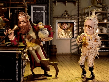 The Captain, Polly, and Darwin are attacked by Queen Victoria from the Aarman/Sony film The Pirates!