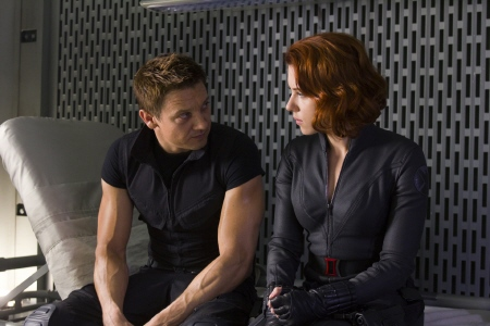 Clint and Natasha almost have a moment from the Marvel Studios film The Avengers