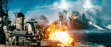 Alien ship vs Navy ship from the Universal Pictures film Battleship