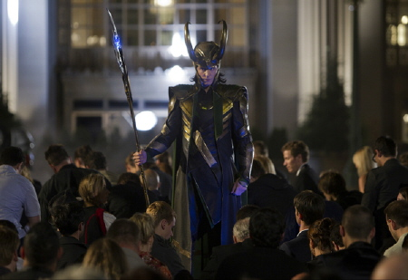 Loki subjugates people from the Marvel Studios film The Avengers