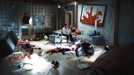 Barnabas and Angelique destroy her office from the Warner Bros. Pictures film Dark Shadows