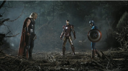 Iron Man, Thor, and Captain America face off from the Marvel Studios film The Avengers