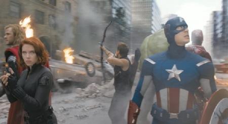 The Avengers fight for New York from the Marvel Studios film The Avengers