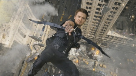 Hawkeye falls off a building from the Marvel Studios film The Avengers
