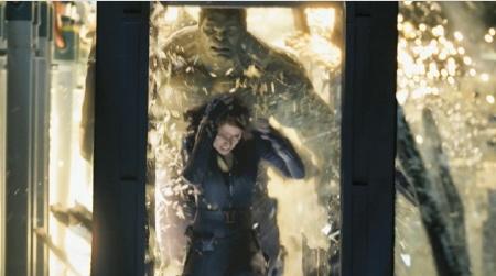 Natasha flees from the Hulk from the Marvel Studios film The Avengers