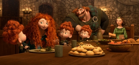 Merida and her family at the table from the Disney Pixar film Brave