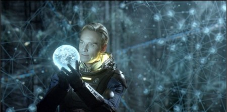 David plays with a holographic map from the 20th Century Fox film Prometheus