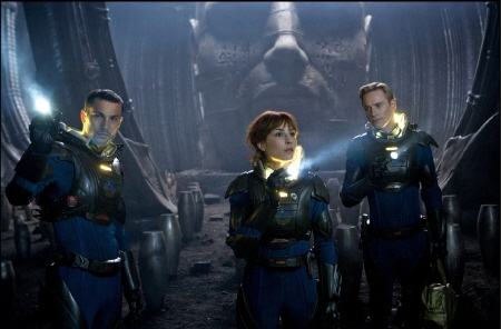 Charlie, Elizabeth, and David explore the alien base from the 20th Century Fox film Prometheus