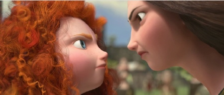 Merida and her mom glare at each other from the Disney Pixar film Brave