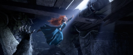 Merida leaps for her moms paw from the Disney Pixar film Brave