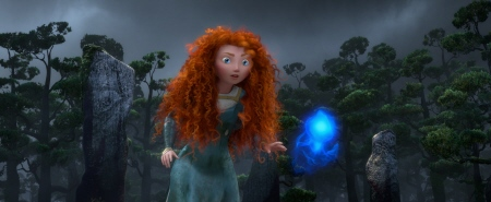 Merida sees a wil o the wisp from the Disney Pixar film Brave