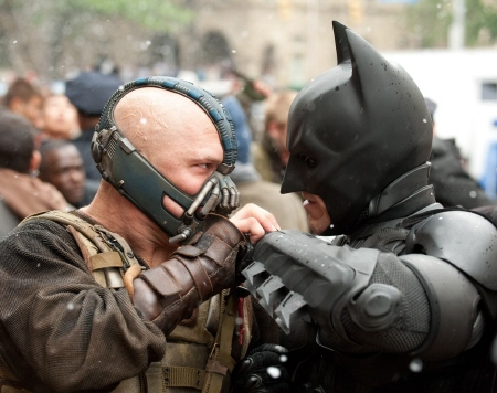 Bane and Batman square off from the Legendary Pictures film Dark Knight Rises