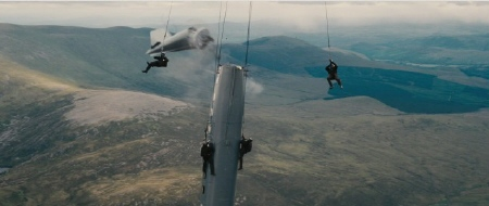 Bane and his goons hijack a plane in mid air from the Legendary Pictures film Dark Knight Rises