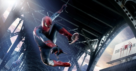 Spider-Man swings from a bridge from the Marvel Studios film Amazing Spider-Man
