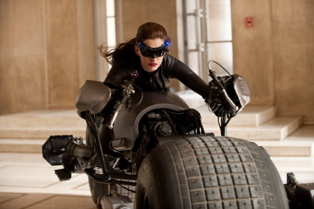 catwoman takes the bat cycle from the Legendary Pictures film Dark Knight Rises