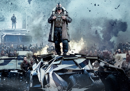 Bane leads a mob of mercenaries from the Legendary Pictures film Dark Knight Rises