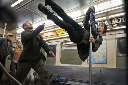Peter kicks some dudes on the subway from the Marvel Studios film Amazing Spider-Man