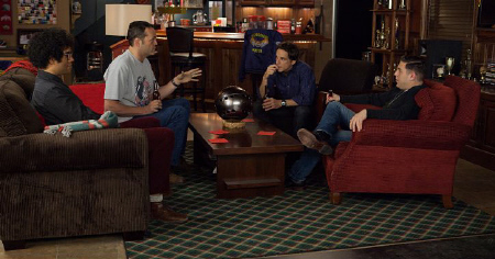 The neighborhood watch meets in Bobs man cave from the Twentieth Century Fox film The Watch