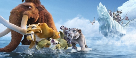 Manny, Sid, Deigo, Shira, and Granny paddle away from pirates from the 20th Century Fox Film Ice Age Continental Drift