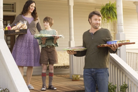 Cindy and Jim introduce Timothy at the family barbecue from the Disney film the Odd Life of Timothy Green