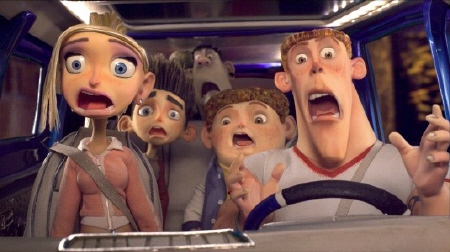 Courtney, Norman, Alvin, Neil, and Mitch flee from zombies from the Laika Entertainment film Paranorman