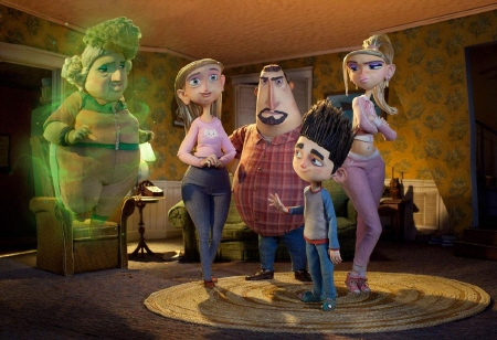 Norman, his family, and his dead grandma from the Laika Entertainment film Paranorman