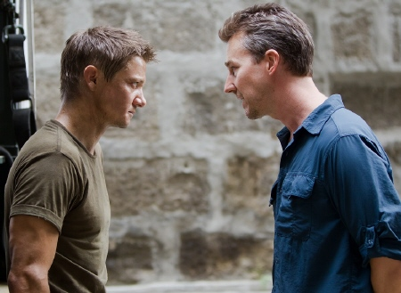 Jeremy Renner and Edward Norton face off from the Universal Pictures film The Bourne Legacy