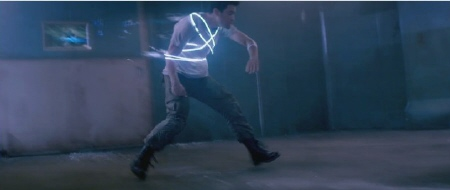 Doug trapped by light ropes from the Columbia Pictures film Total Recall 2012