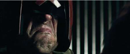 Karl Urban makes a frowny face from the DNA Pictures film Dredd